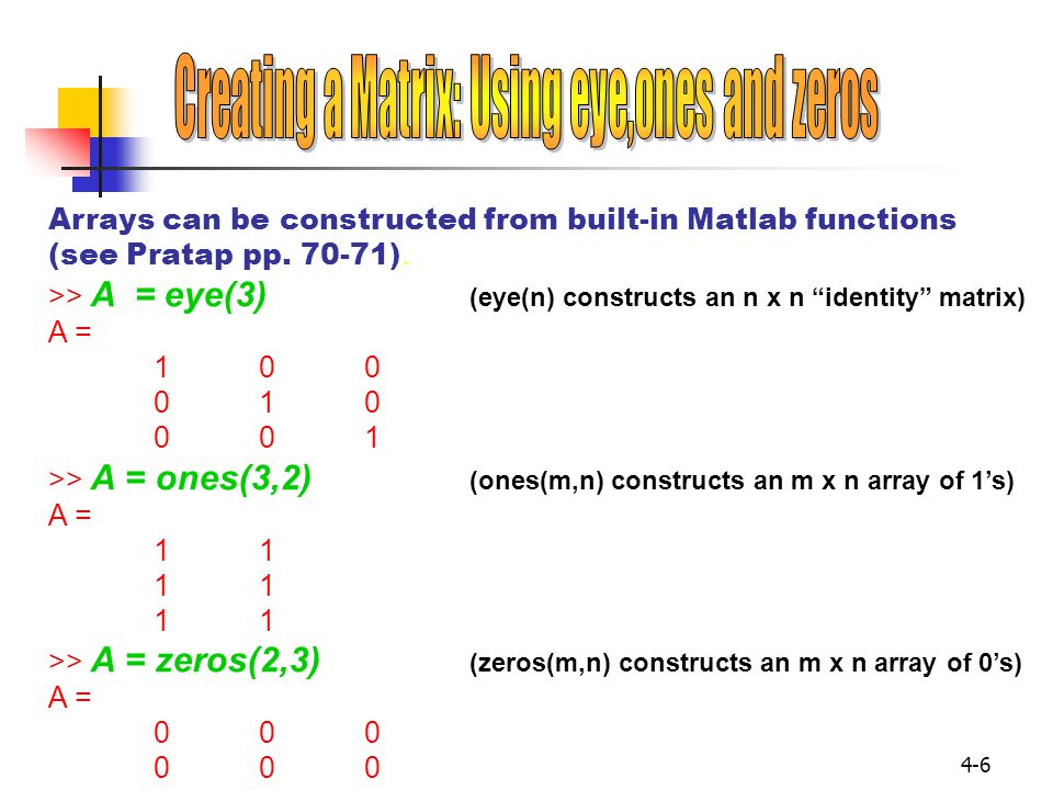 Creating a Matrix: Using eye,ones and zeros