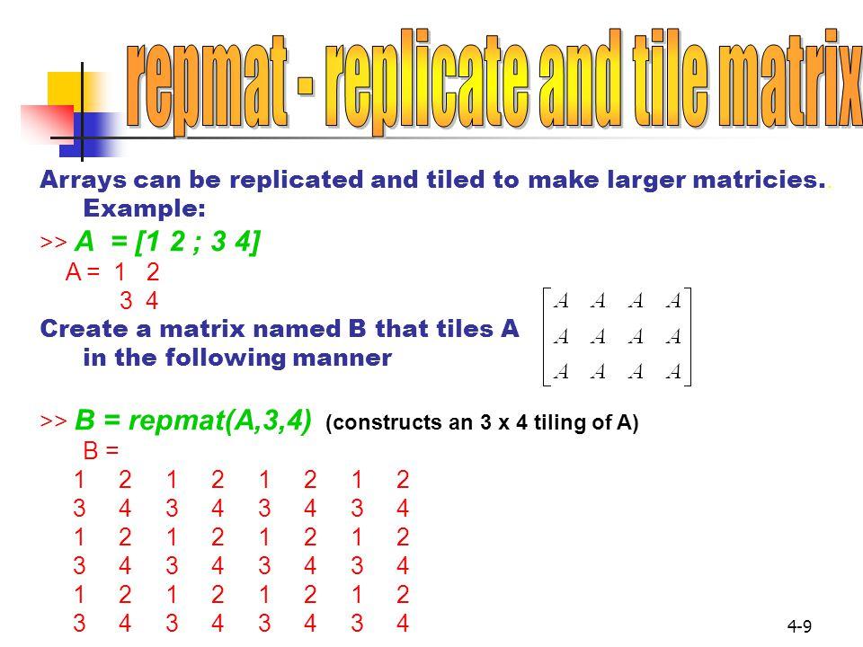 repmat - replicate and tile matrix