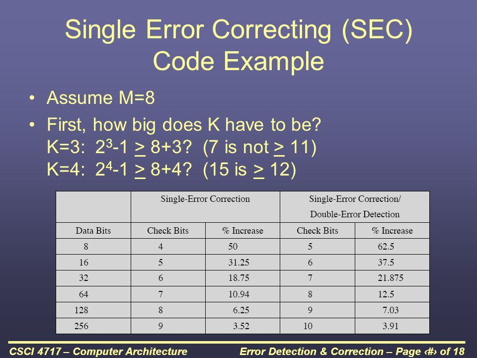 Single Error Correcting (SEC) Code Example