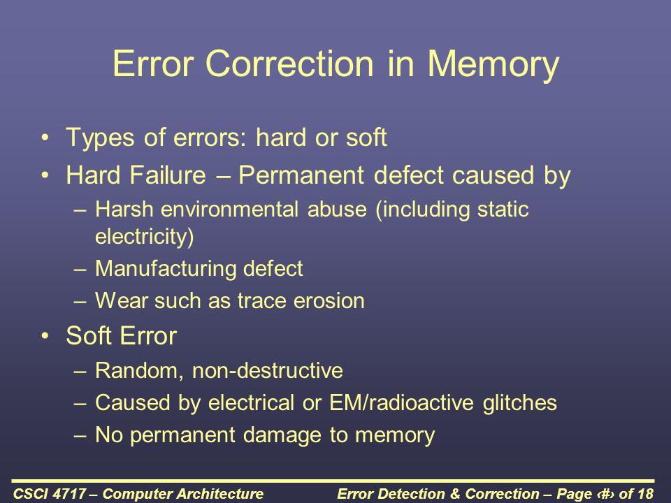Error Correction in Memory