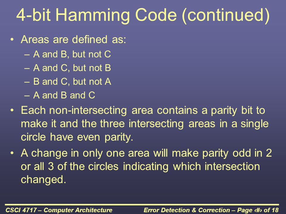 4-bit Hamming Code (continued)