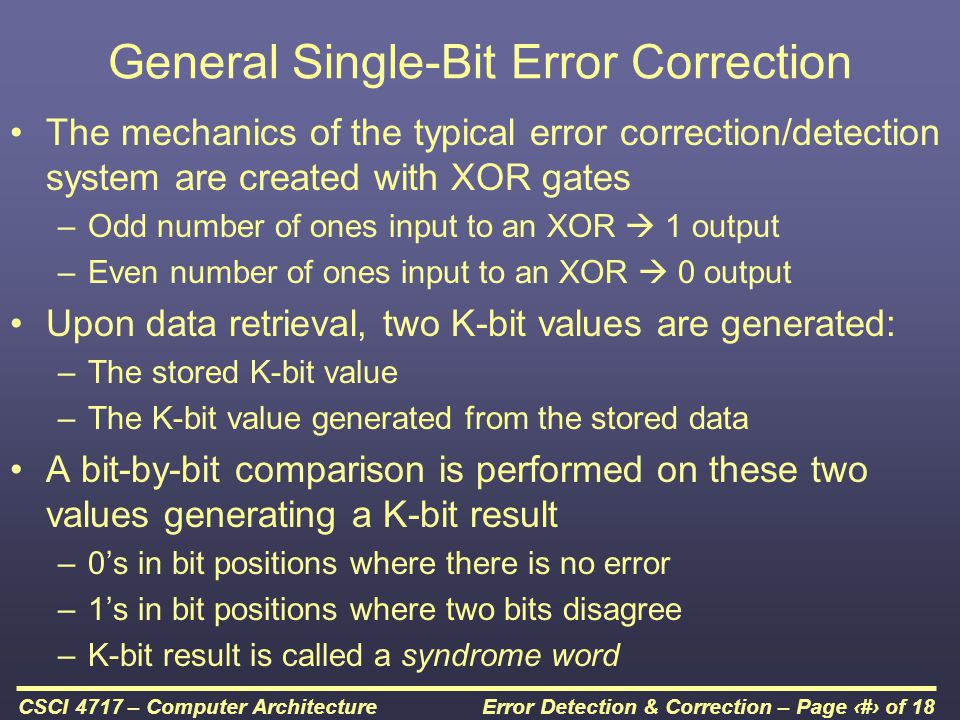 General Single-Bit Error Correction
