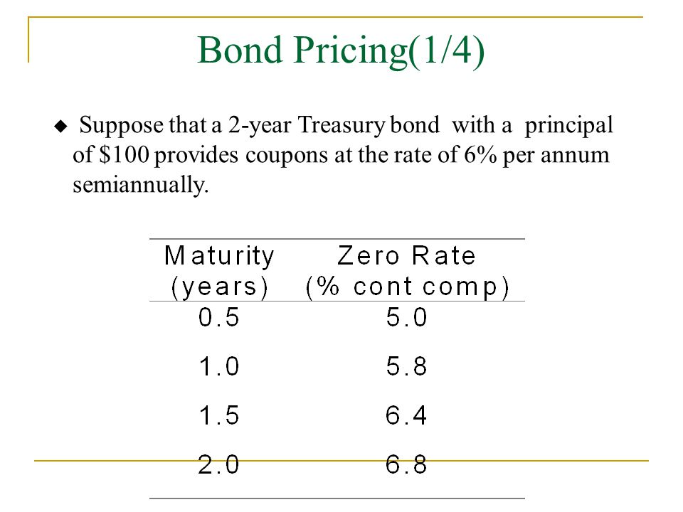 Bond Pricing(1/4) Suppose that a 2-year Treasury bond with a principal of $100 provides coupons at the rate of 6% per annum semiannually.