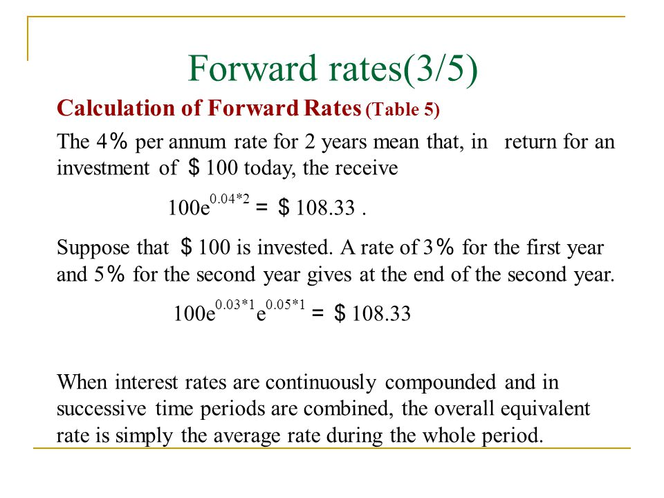Forward rates(3/5) Calculation of Forward Rates (Table 5)