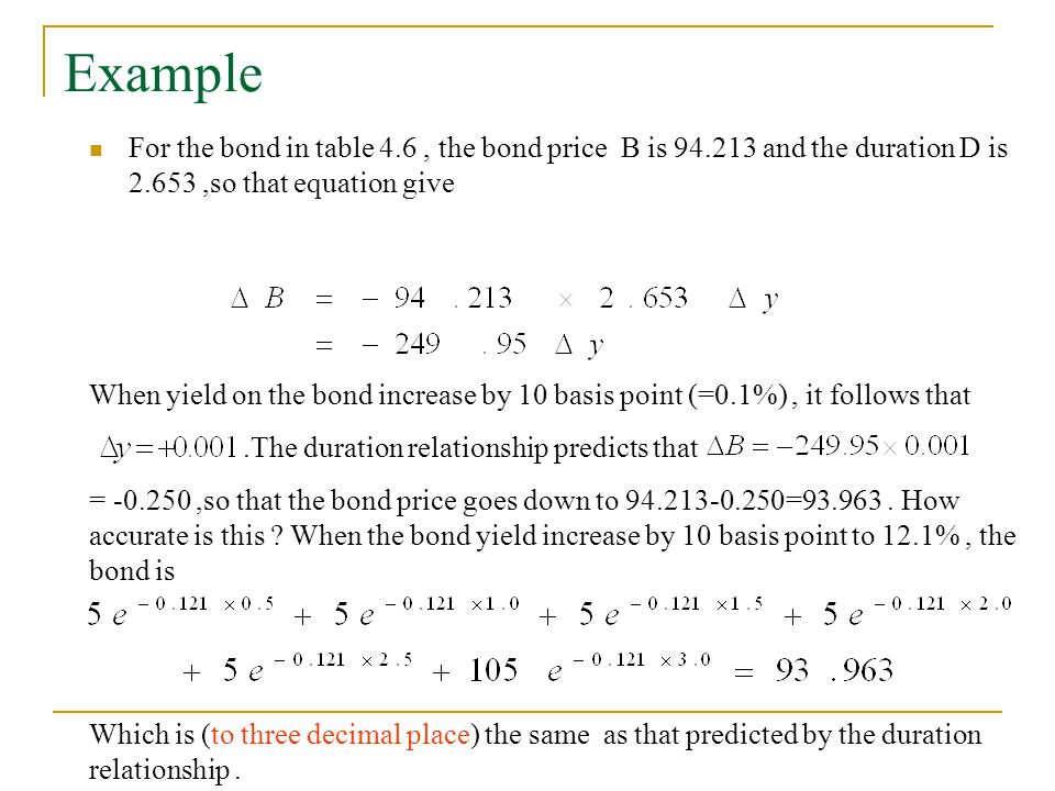 Example For the bond in table 4.6 , the bond price B is 94.213 and the duration D is 2.653 ,so that equation give.