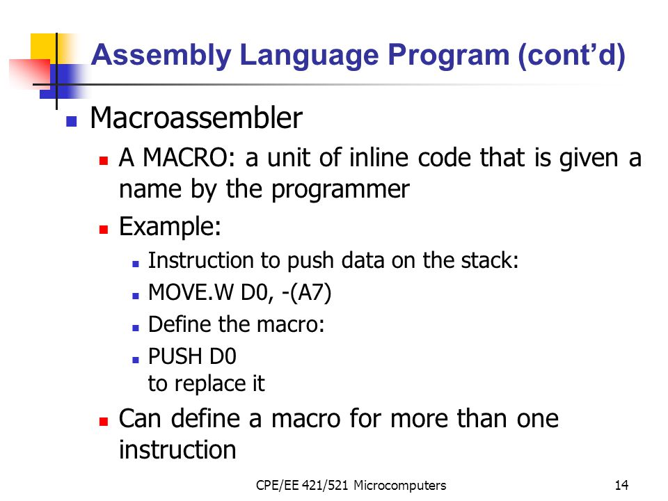 Assembly Language Program (cont'd)
