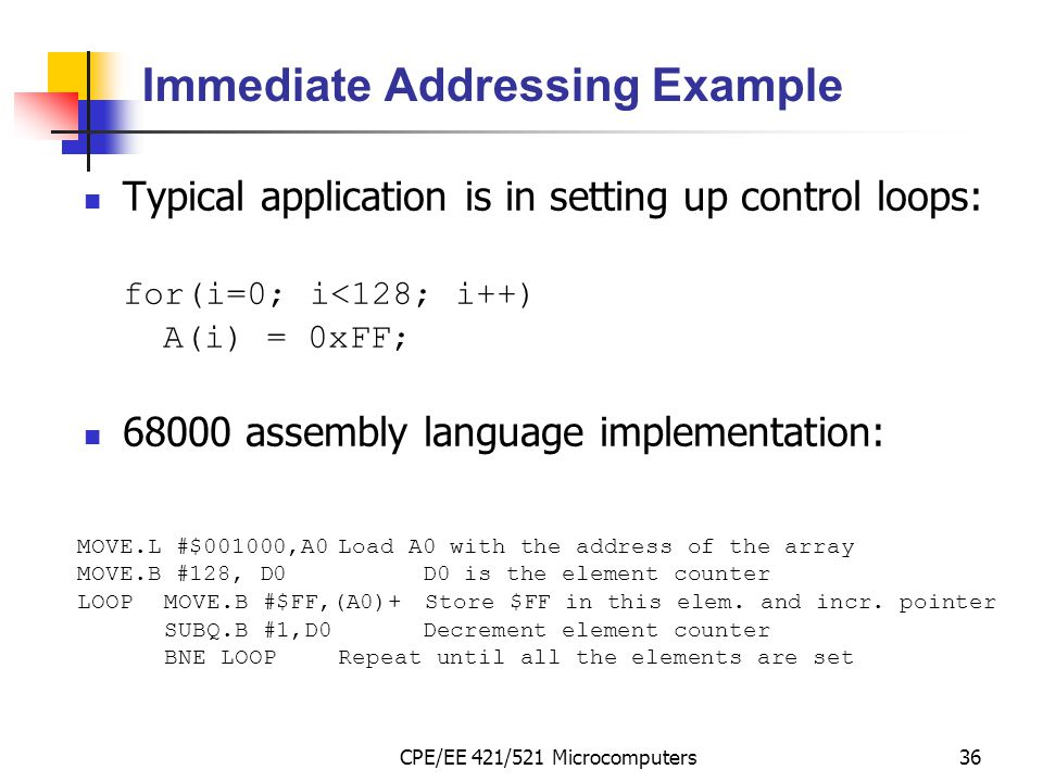 Immediate Addressing Example