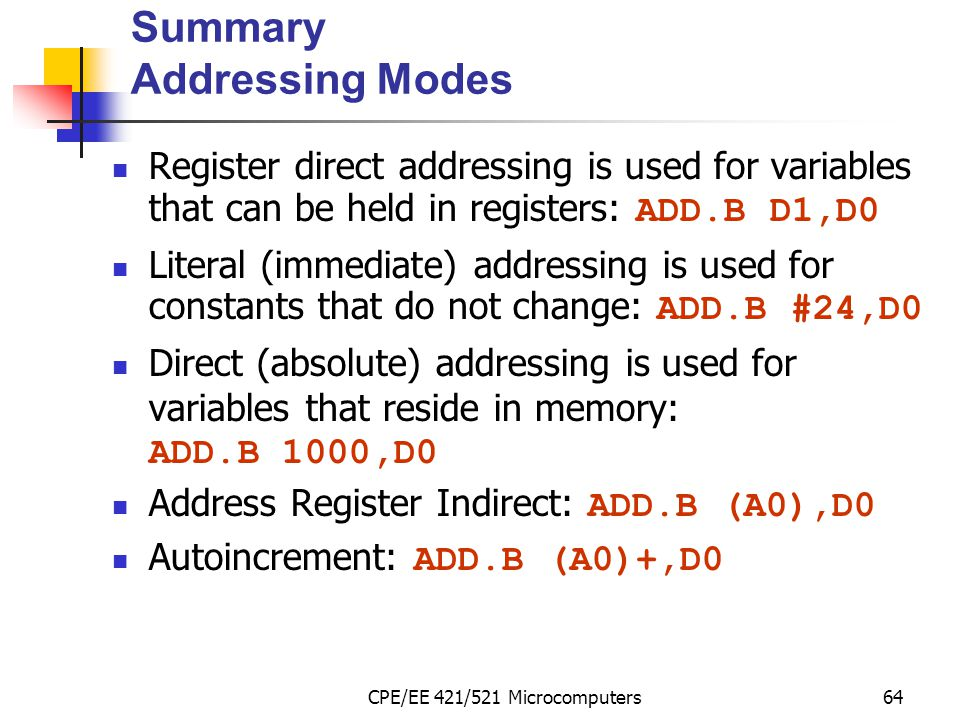 Summary Addressing Modes