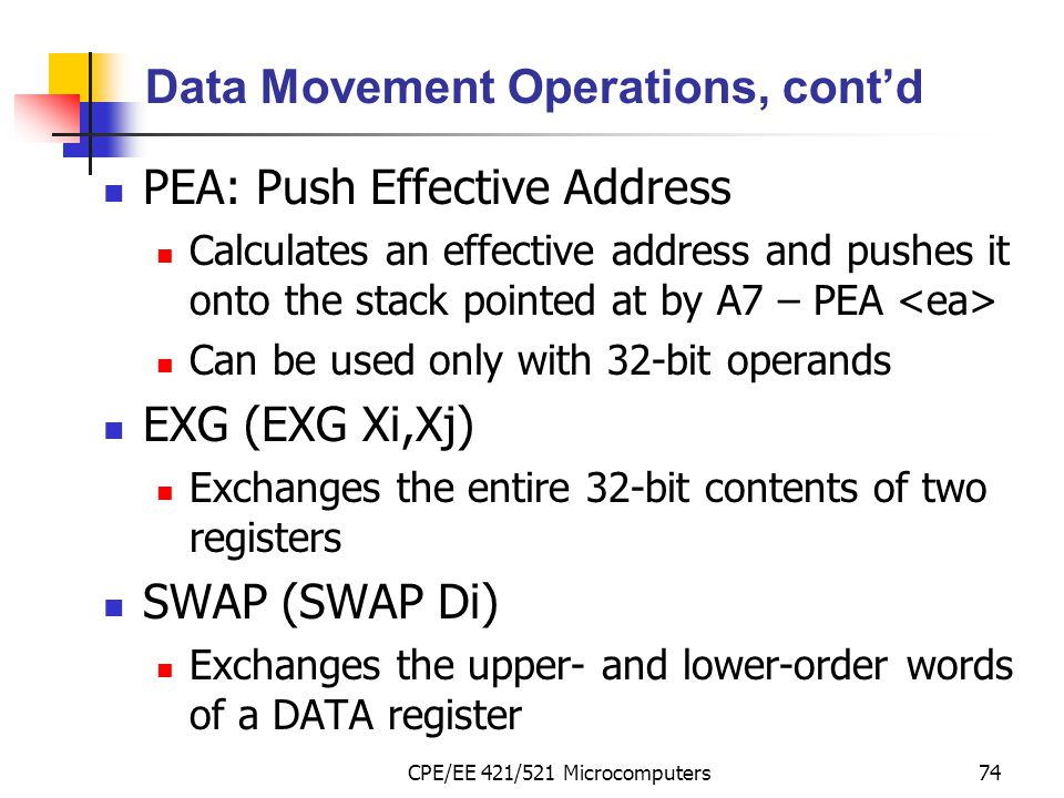 Data Movement Operations, cont'd