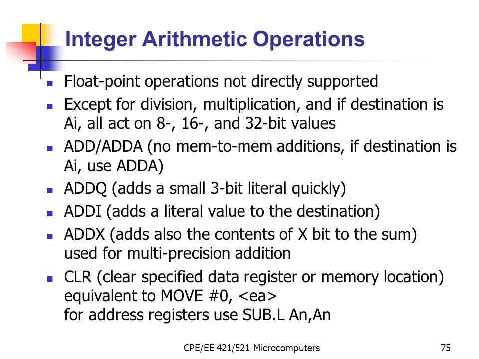 Integer Arithmetic Operations