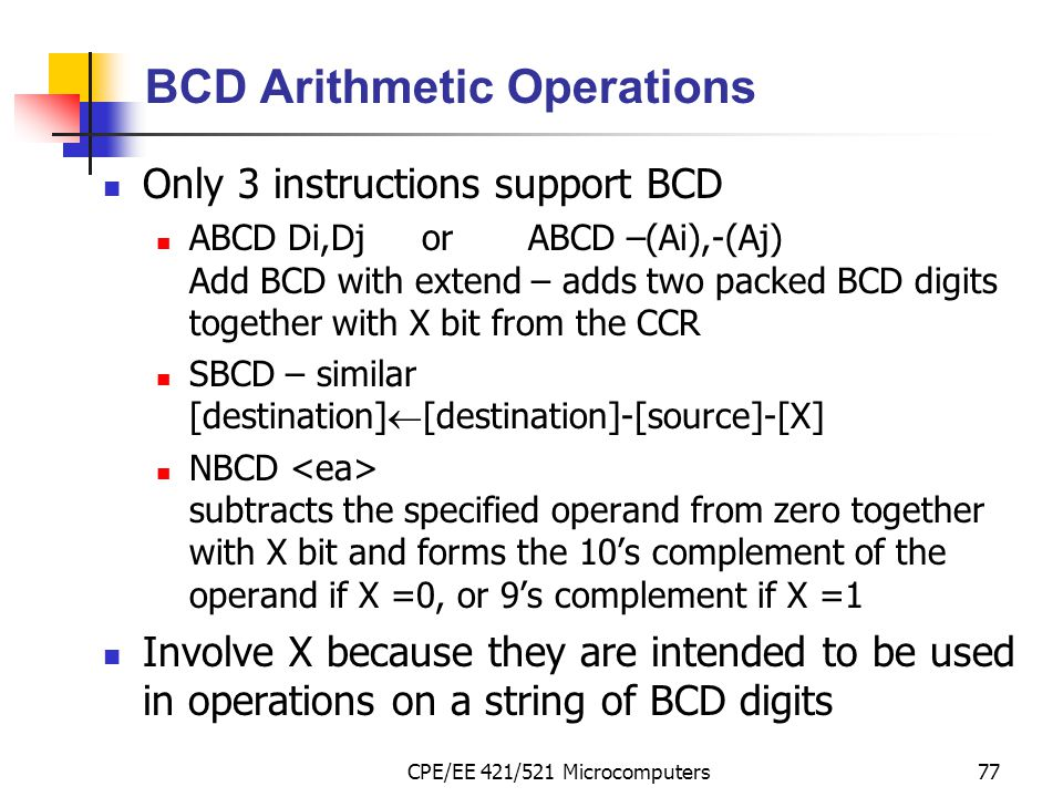 BCD Arithmetic Operations