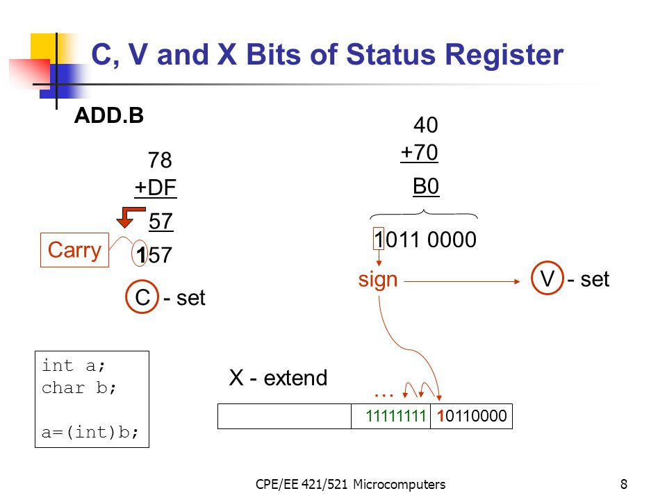 C, V and X Bits of Status Register