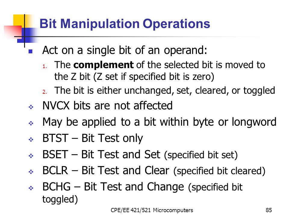 Bit Manipulation Operations