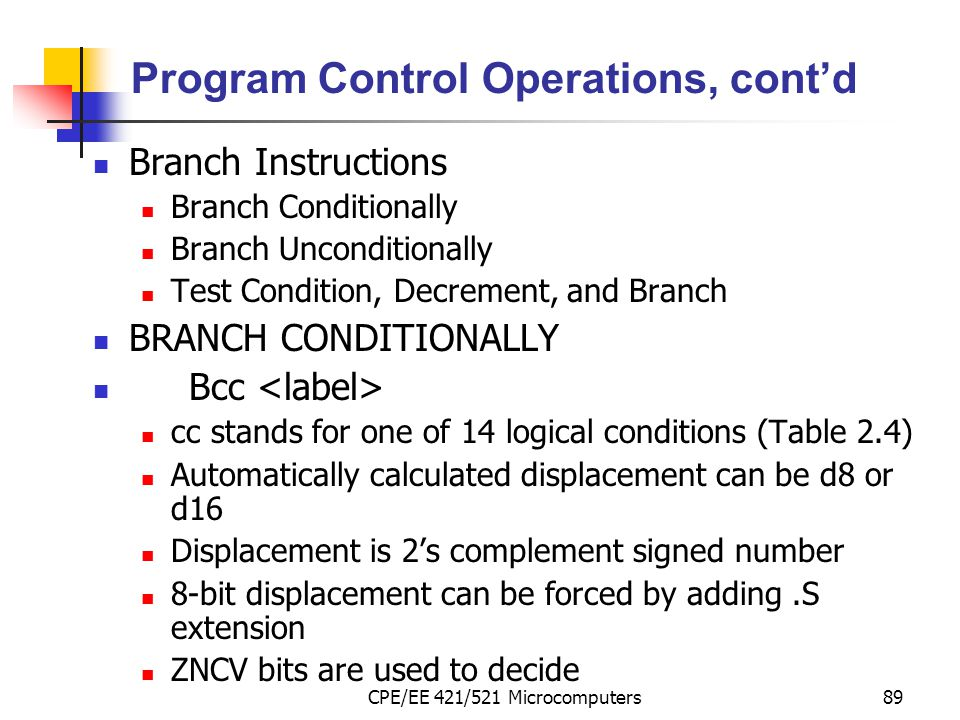 Program Control Operations, cont'd