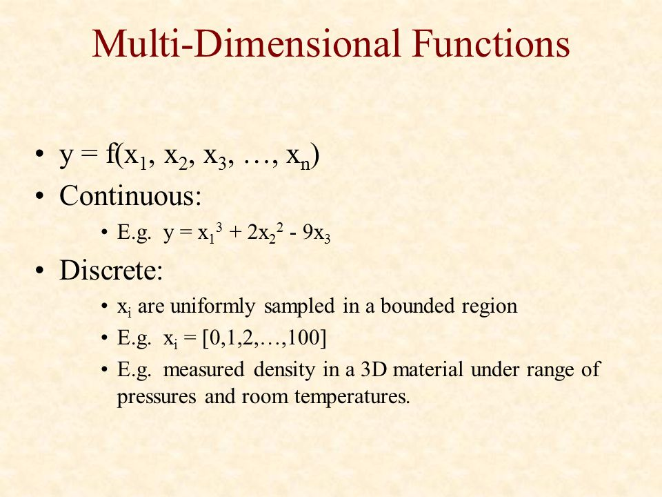 Multi-Dimensional Functions