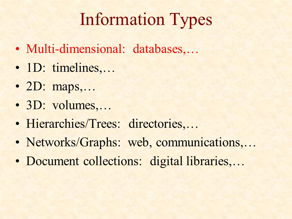 Information Types Multi-dimensional: databases,… 1D: timelines,…