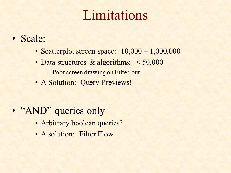 Limitations Scale: AND queries only