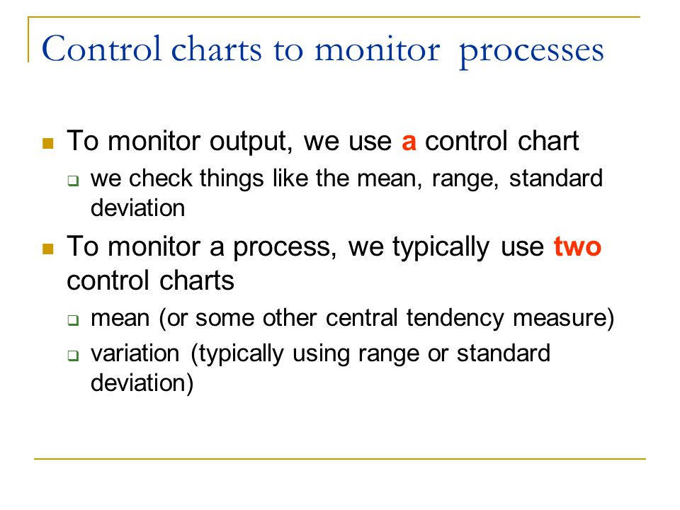 Control charts to monitor processes