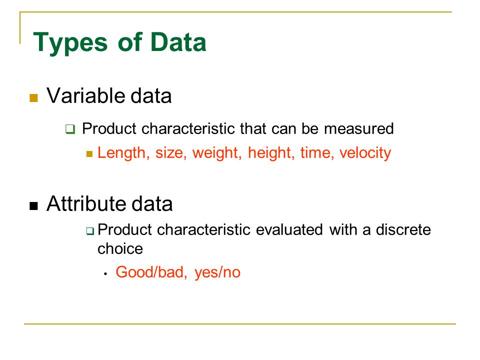 Types of Data Variable data