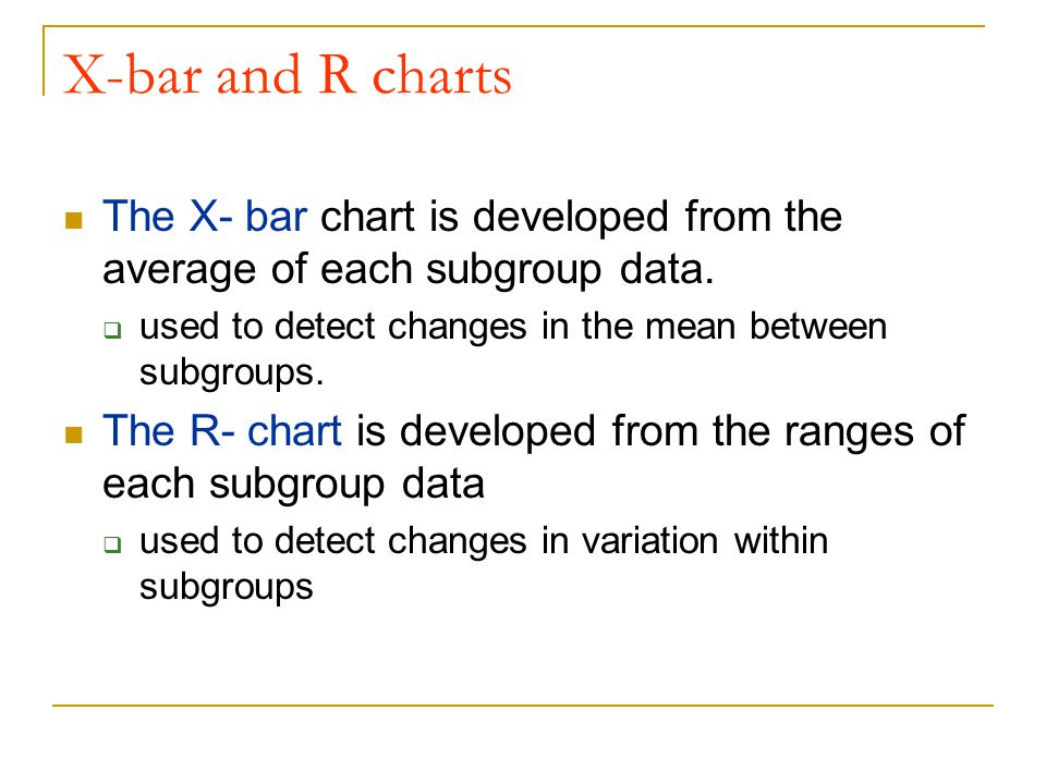 X-bar and R charts The X- bar chart is developed from the average of each subgroup data. used to detect changes in the mean between subgroups.