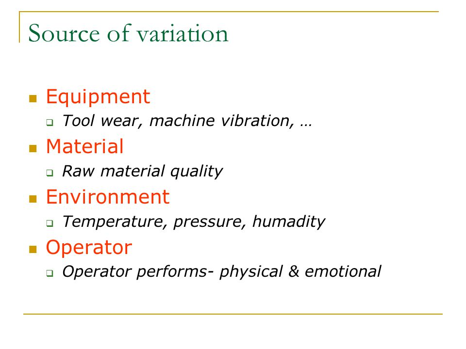 Source of variation Equipment Material Environment Operator