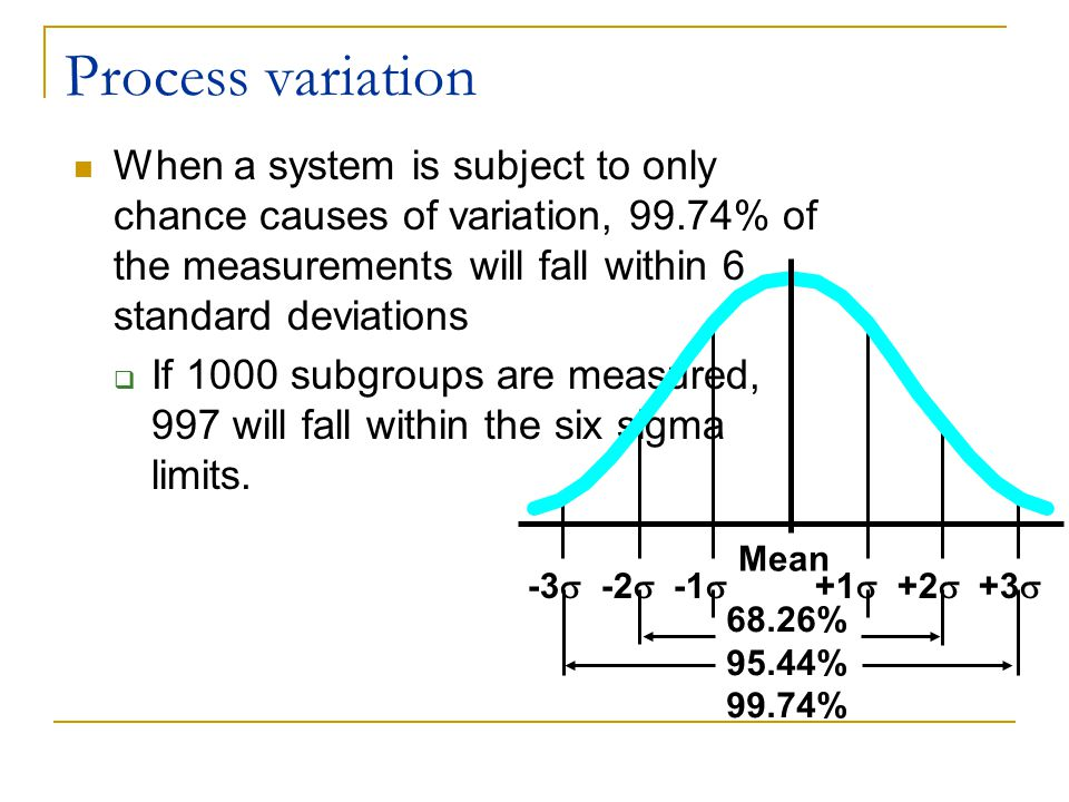 Process variation When a system is subject to only chance causes of variation, 99.74% of the measurements will fall within 6 standard deviations.