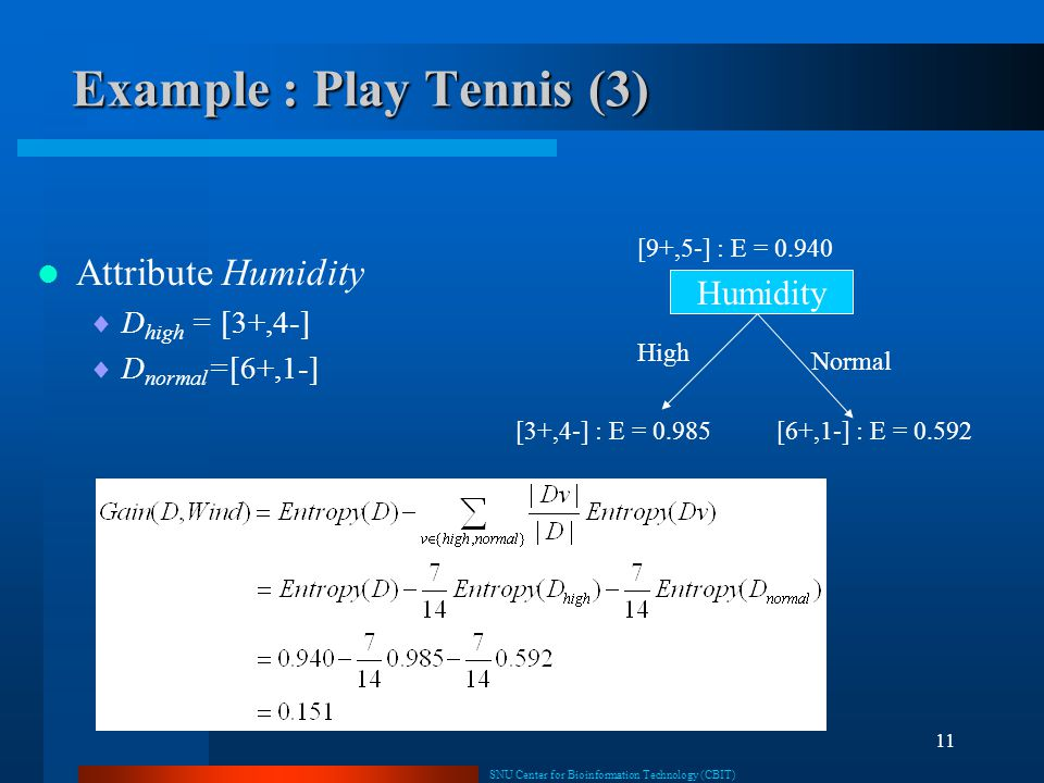 Example : Play Tennis (3)