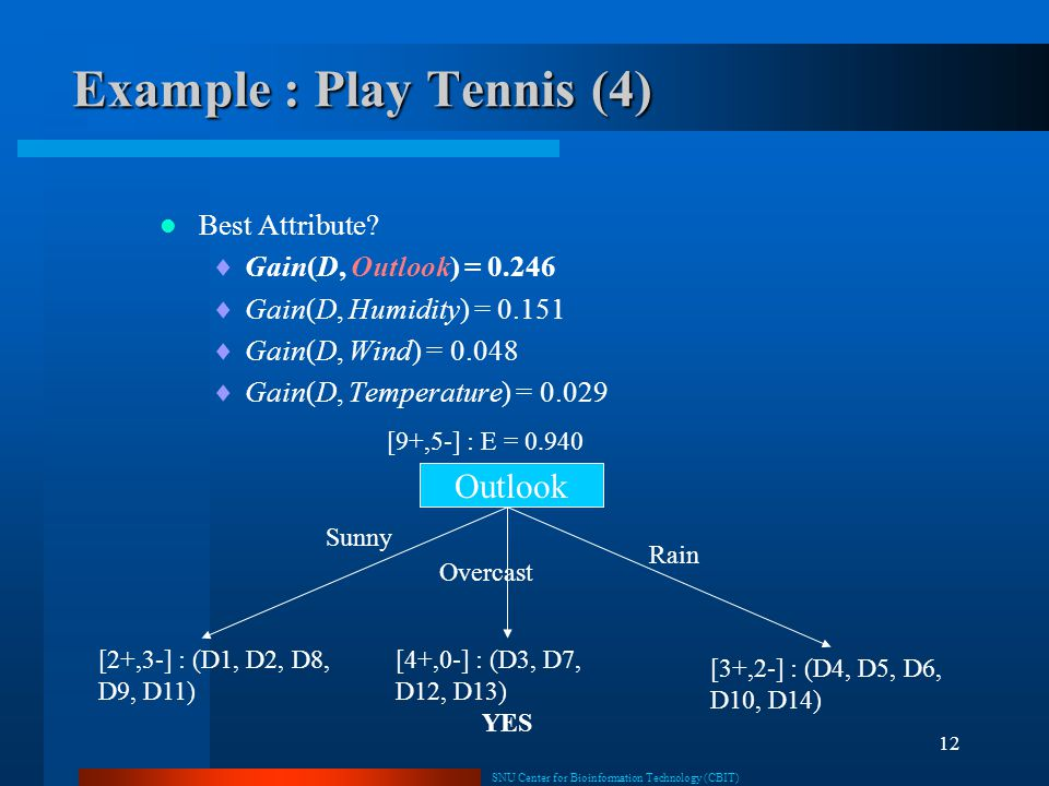 Example : Play Tennis (4)