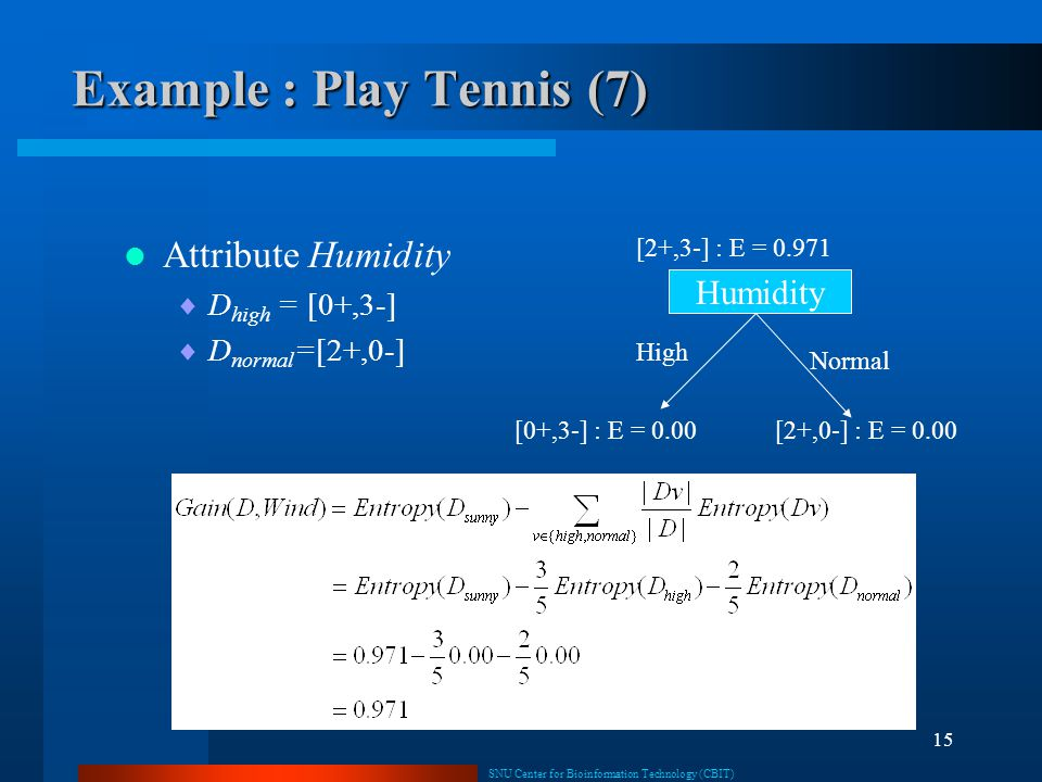 Example : Play Tennis (7)