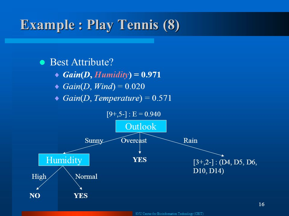 Example : Play Tennis (8)