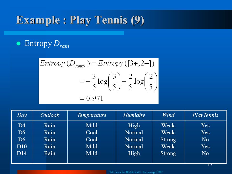 Example : Play Tennis (9)