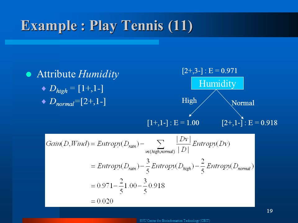 Example : Play Tennis (11)