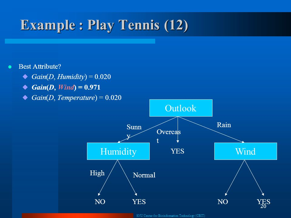 Example : Play Tennis (12)