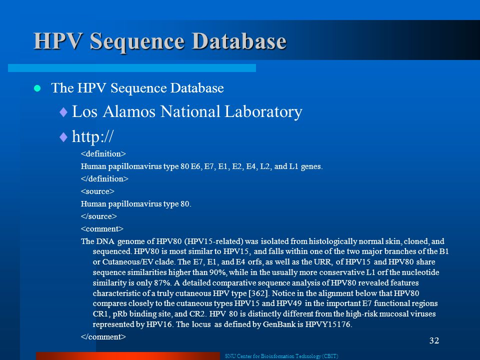 HPV Sequence Database Los Alamos National Laboratory http://