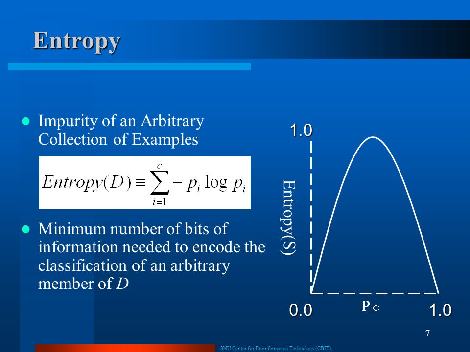 Entropy Impurity of an Arbitrary Collection of Examples