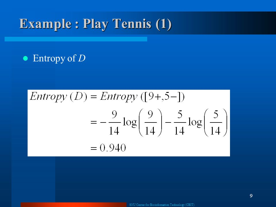 Example : Play Tennis (1)