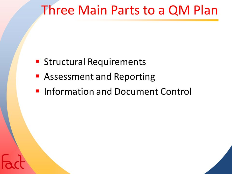 Three Main Parts to a QM Plan