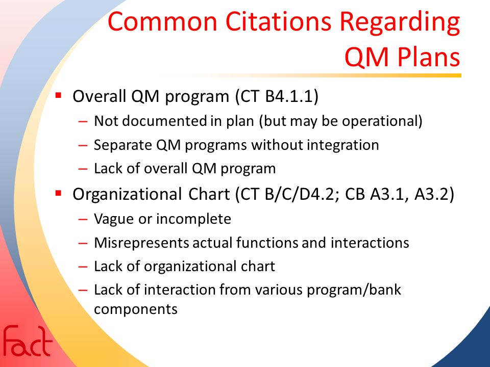 Common Citations Regarding QM Plans