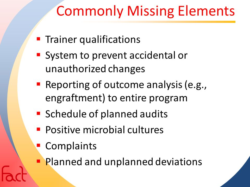 Commonly Missing Elements