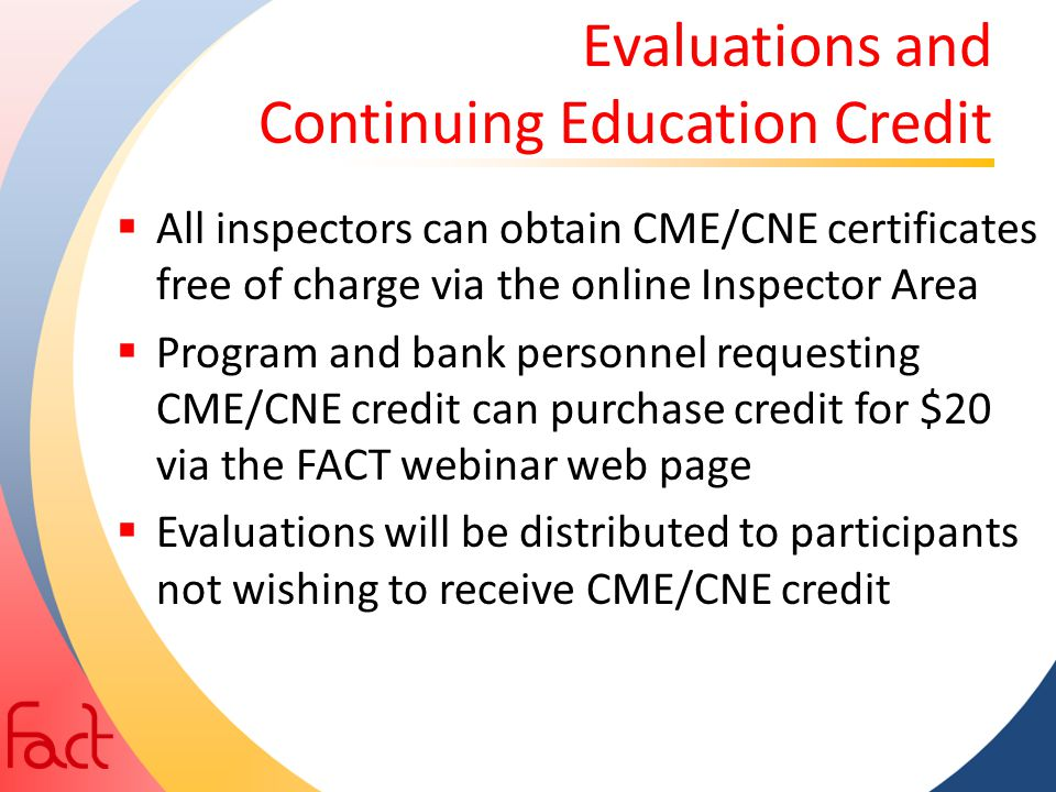 Evaluations and Continuing Education Credit