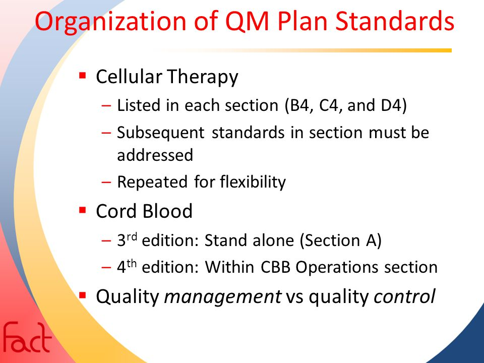 Organization of QM Plan Standards