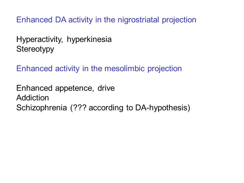 Enhanced DA activity in the nigrostriatal projection