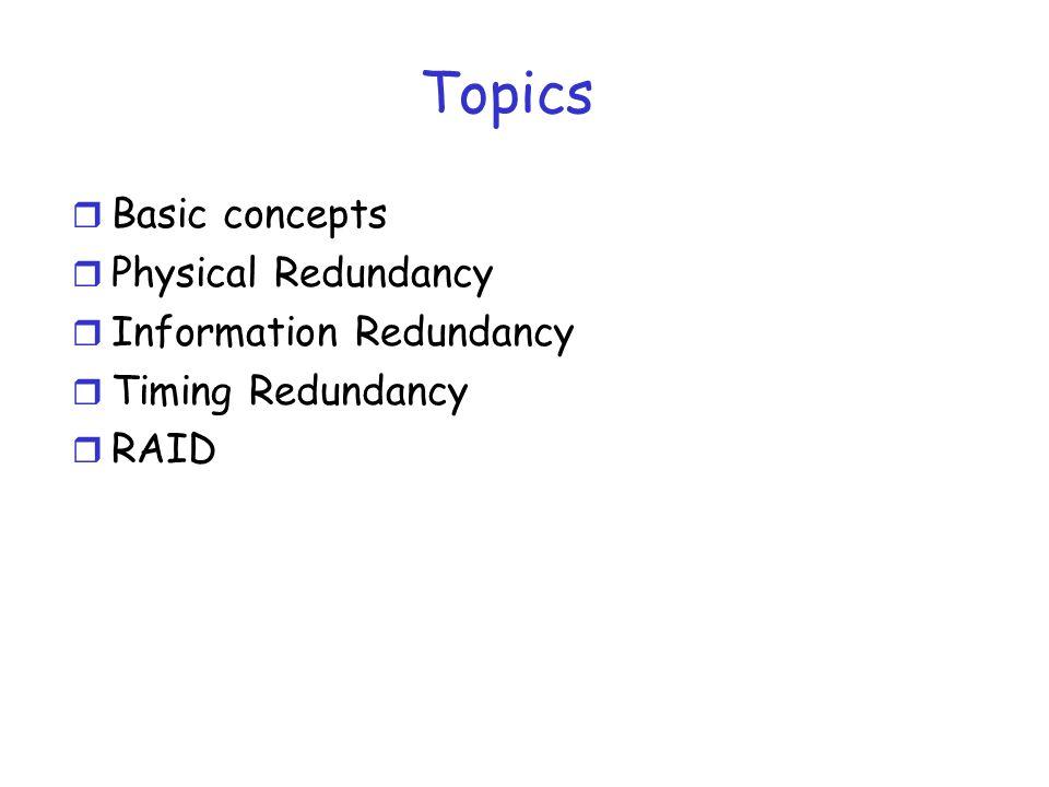 Topics Basic concepts Physical Redundancy Information Redundancy