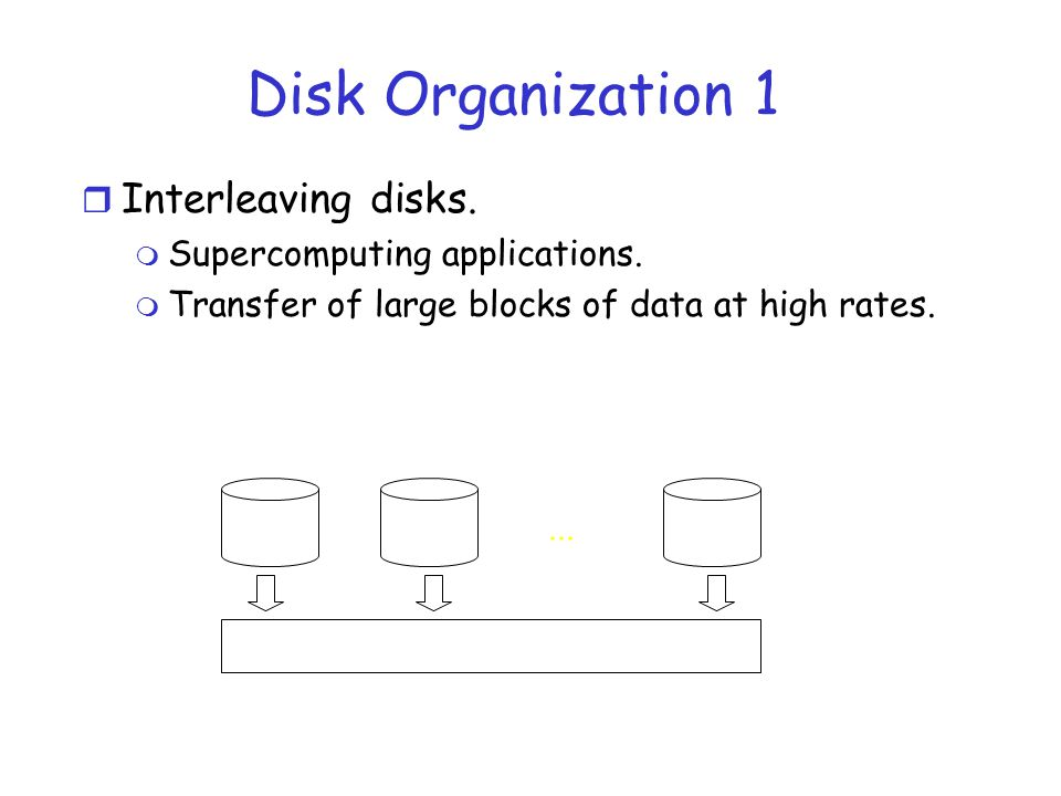 Disk Organization 1 Interleaving disks. Supercomputing applications.