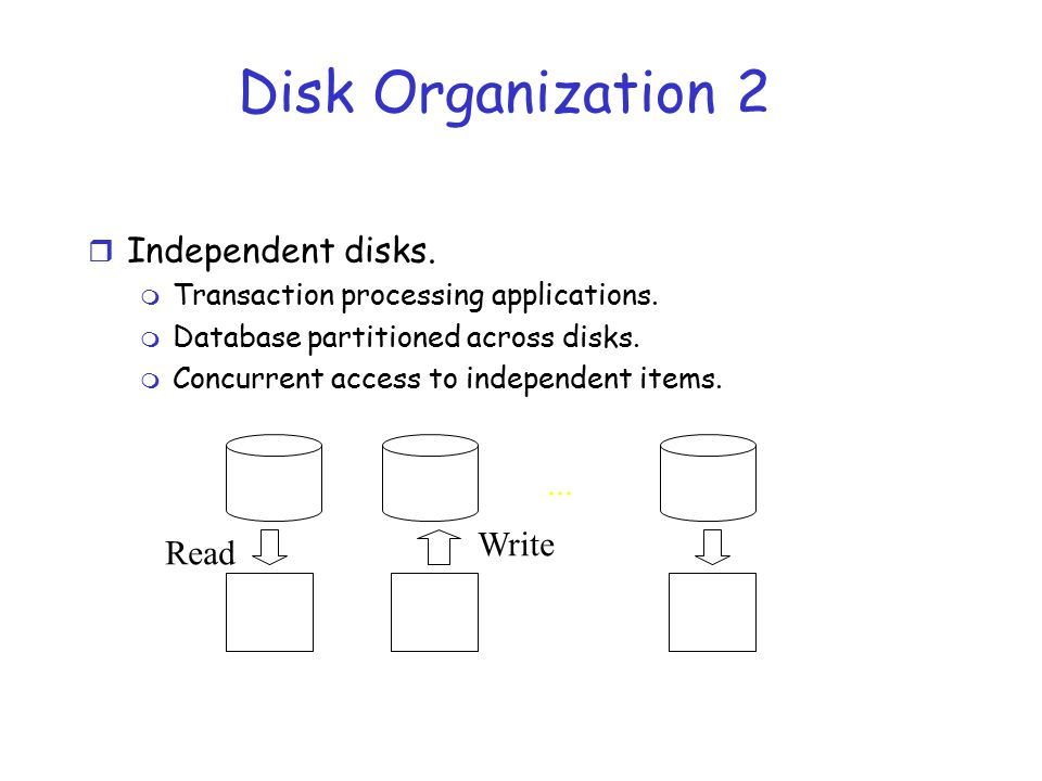 Disk Organization 2 Independent disks. ... Write Read