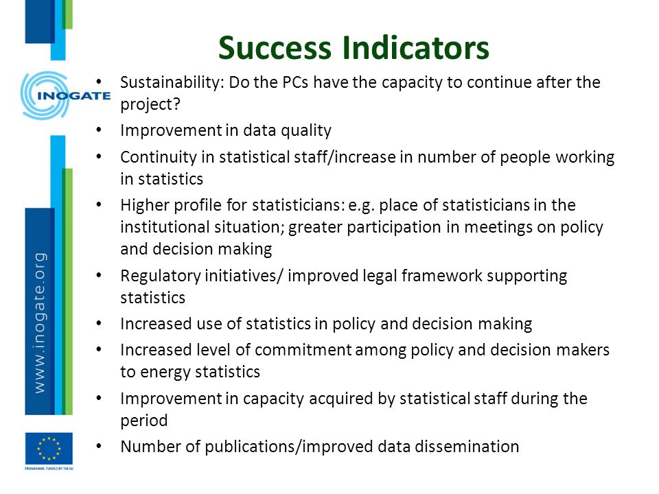 Success Indicators Sustainability: Do the PCs have the capacity to continue after the project Improvement in data quality.