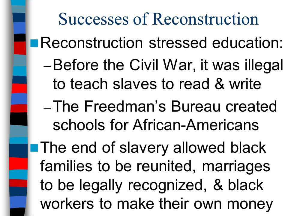 Successes of Reconstruction