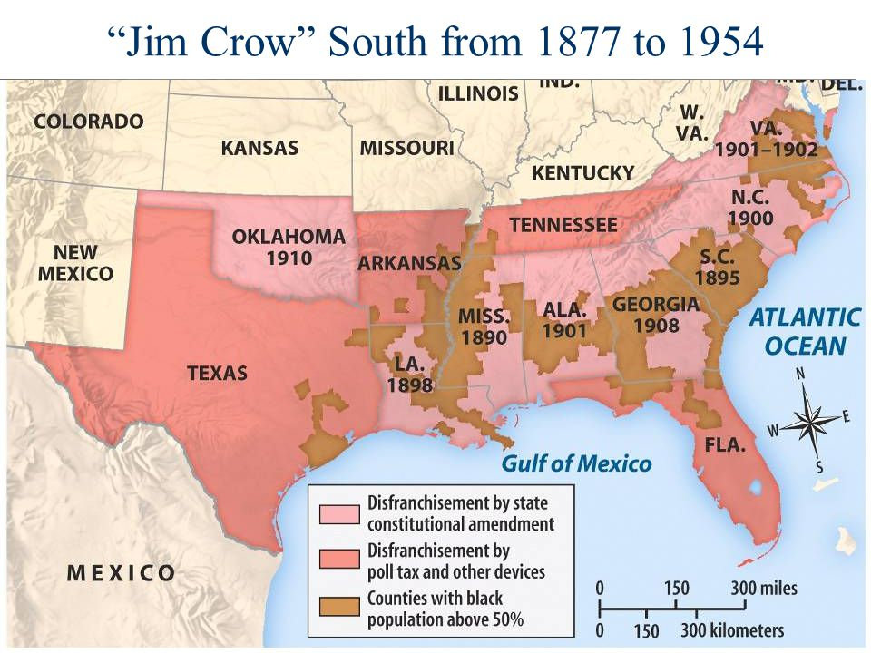 Jim Crow South from 1877 to 1954