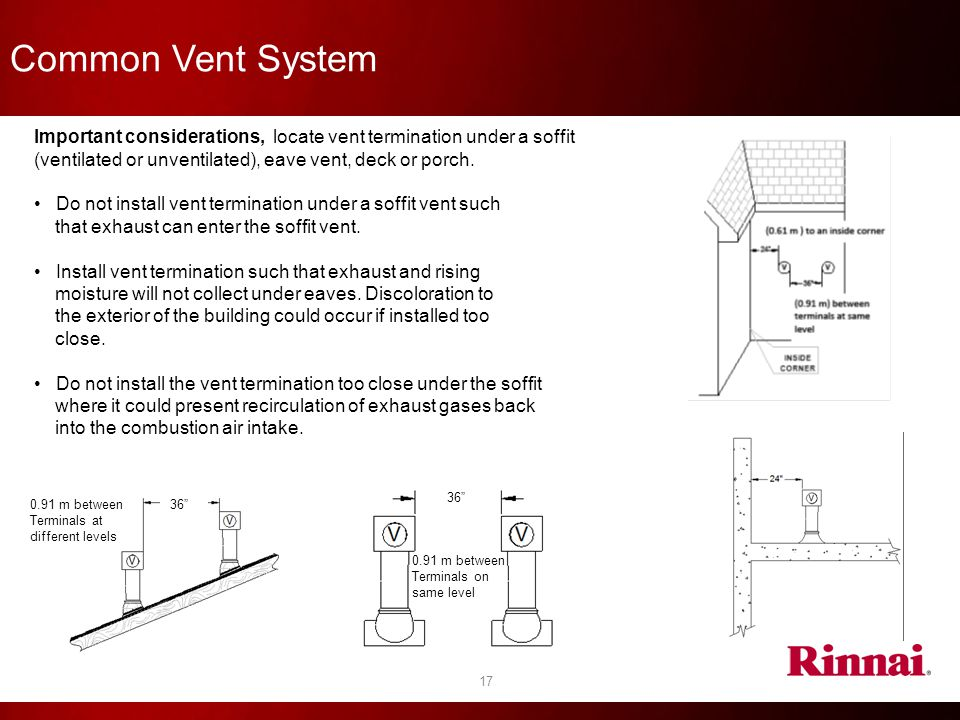 Common Vent System Important considerations, locate vent termination under a soffit (ventilated or unventilated), eave vent, deck or porch.