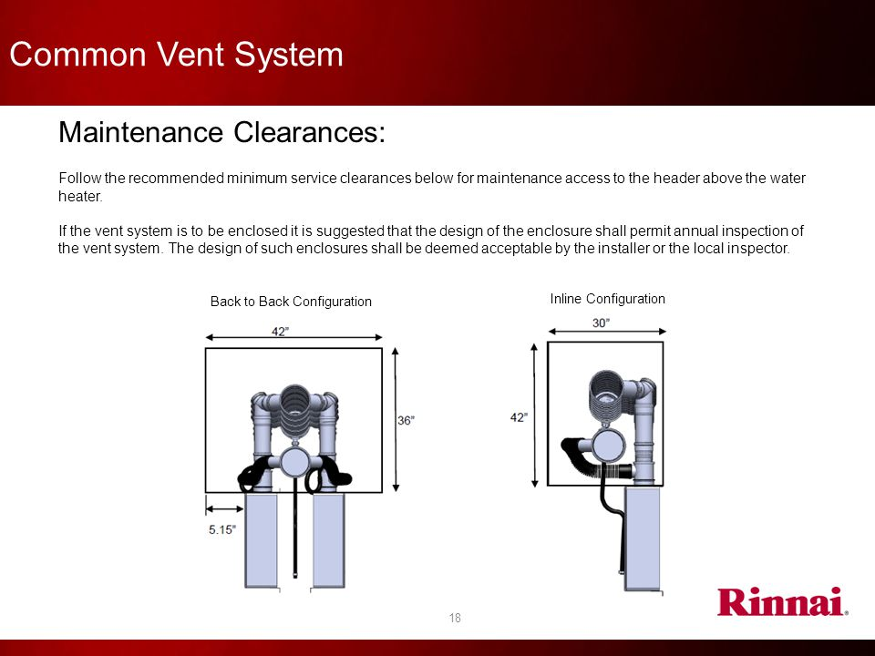 Common Vent System Maintenance Clearances: